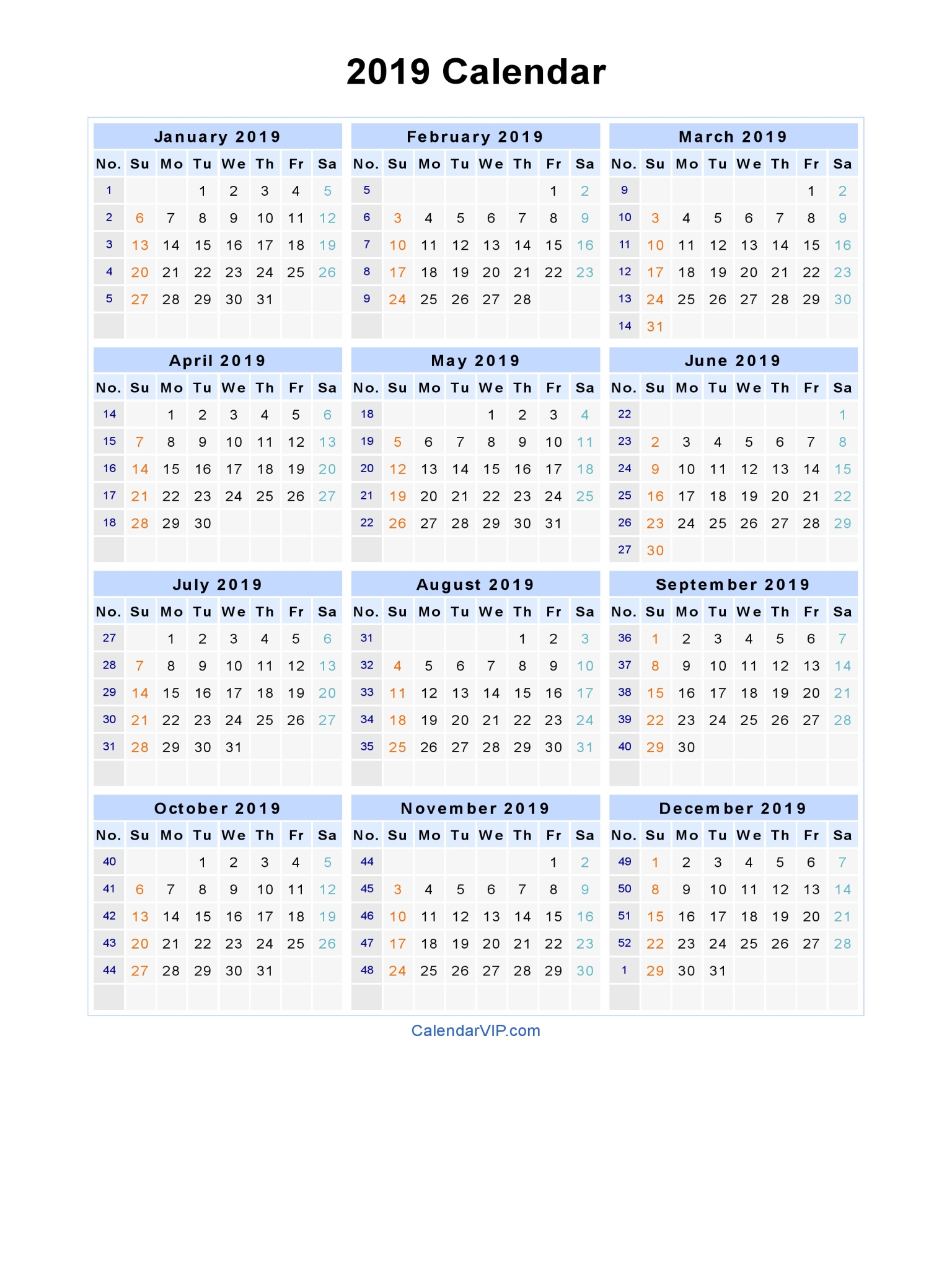 Printable Calendar 2019 Calendar Labs | Printable Calendar 2019