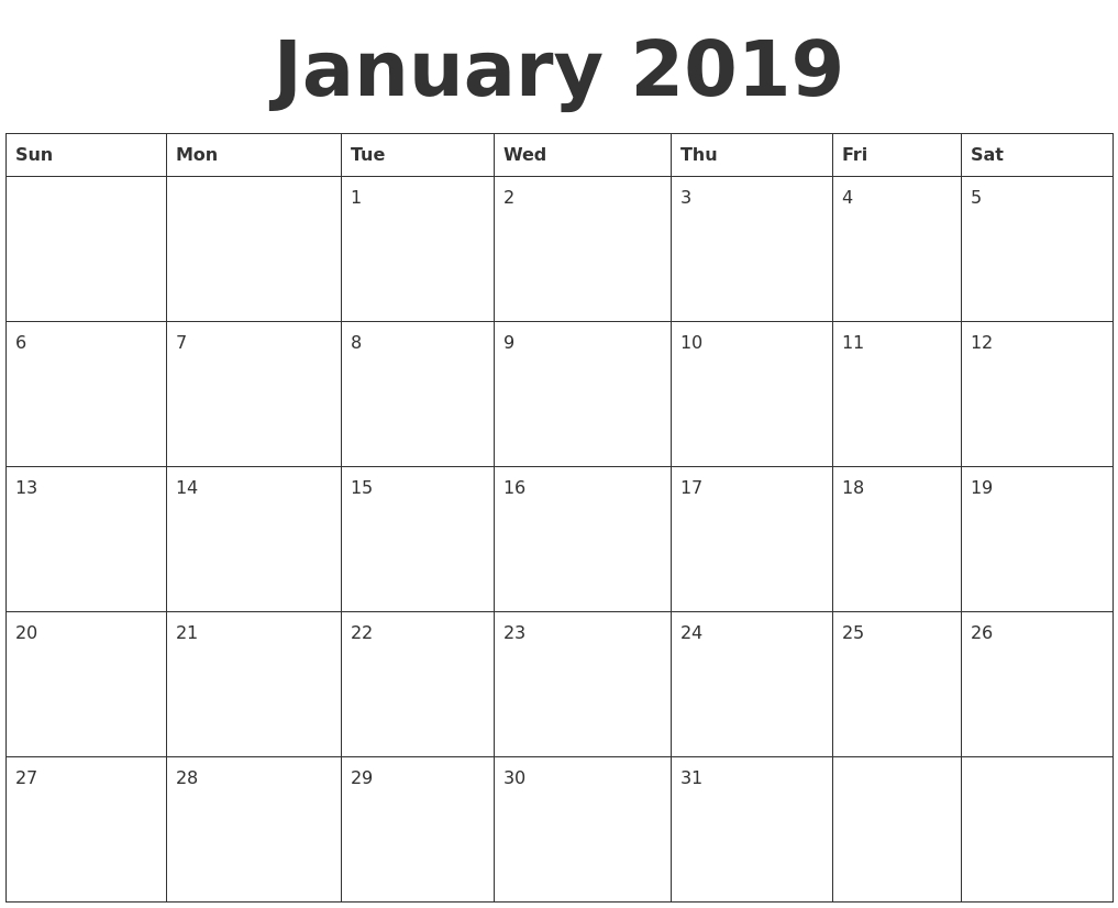 Printable Calendar 2019 Calendarlabs | Printable Calendar 2019