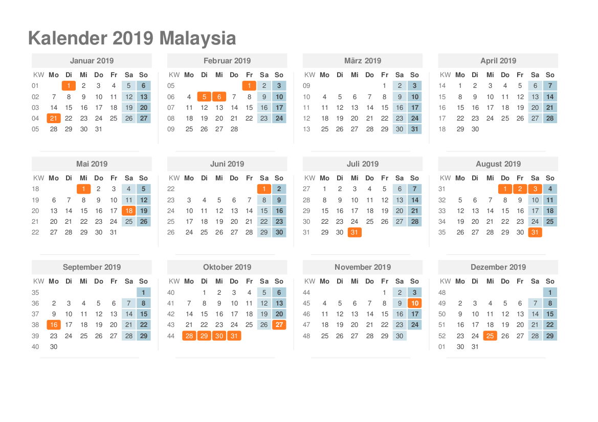 Printable Calendar 2019 Malaysia | Printable Calendar 2019