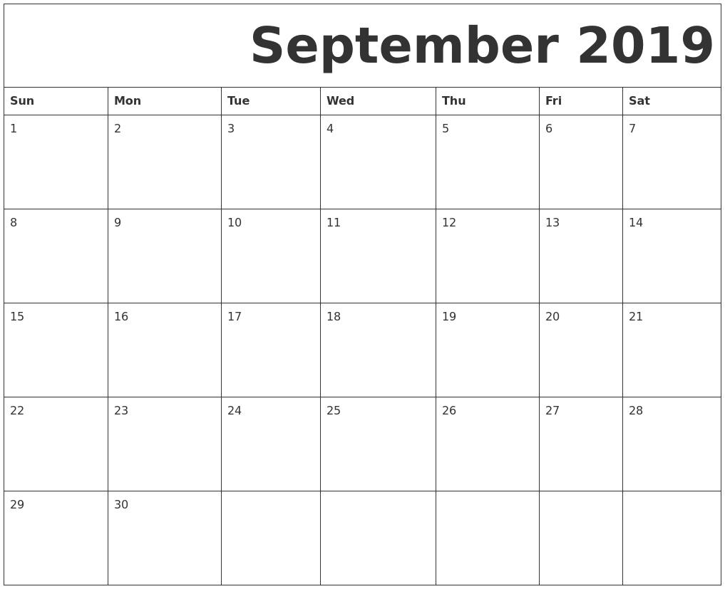 Printable Calendar 2019 Monday Start | Printable Calendar 2019