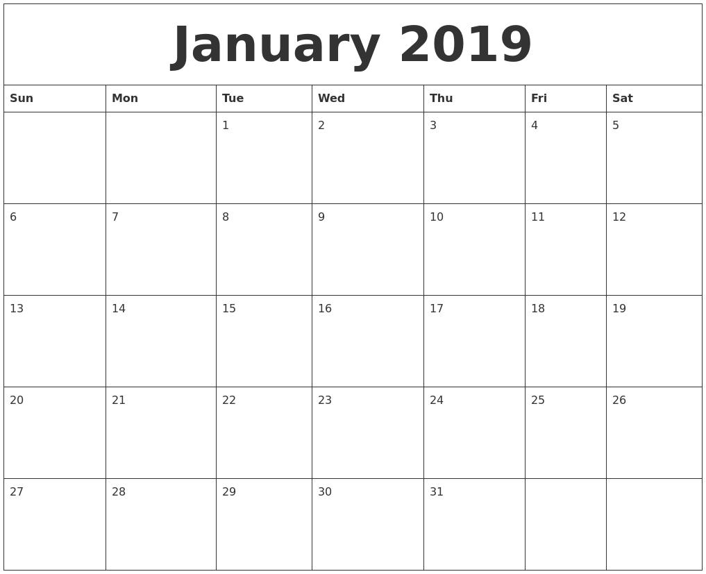Printable Calendar 2019 Monday To Sunday | Printable