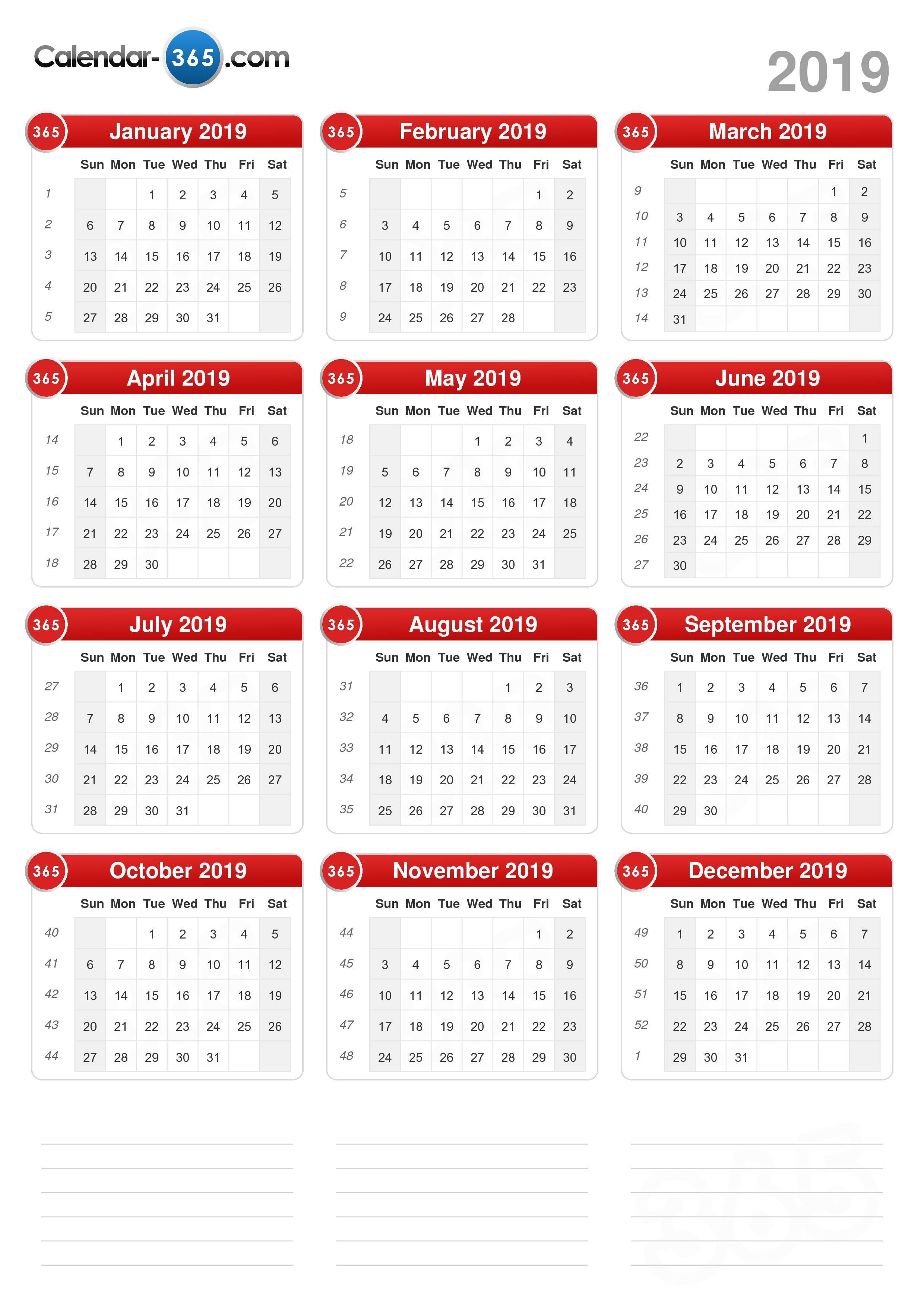 Printable Calendar 2019 Time And Date | Printable Calendar 2019