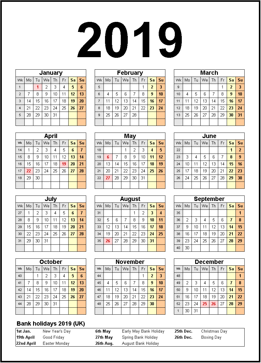 Printable Calendar 2019 United States Holidays | Monthly