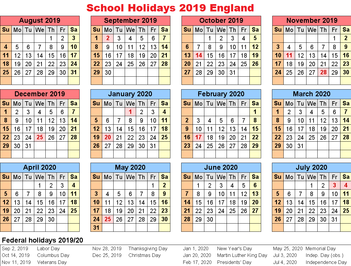 Printable Calendar 2019 With School Holidays | Printable