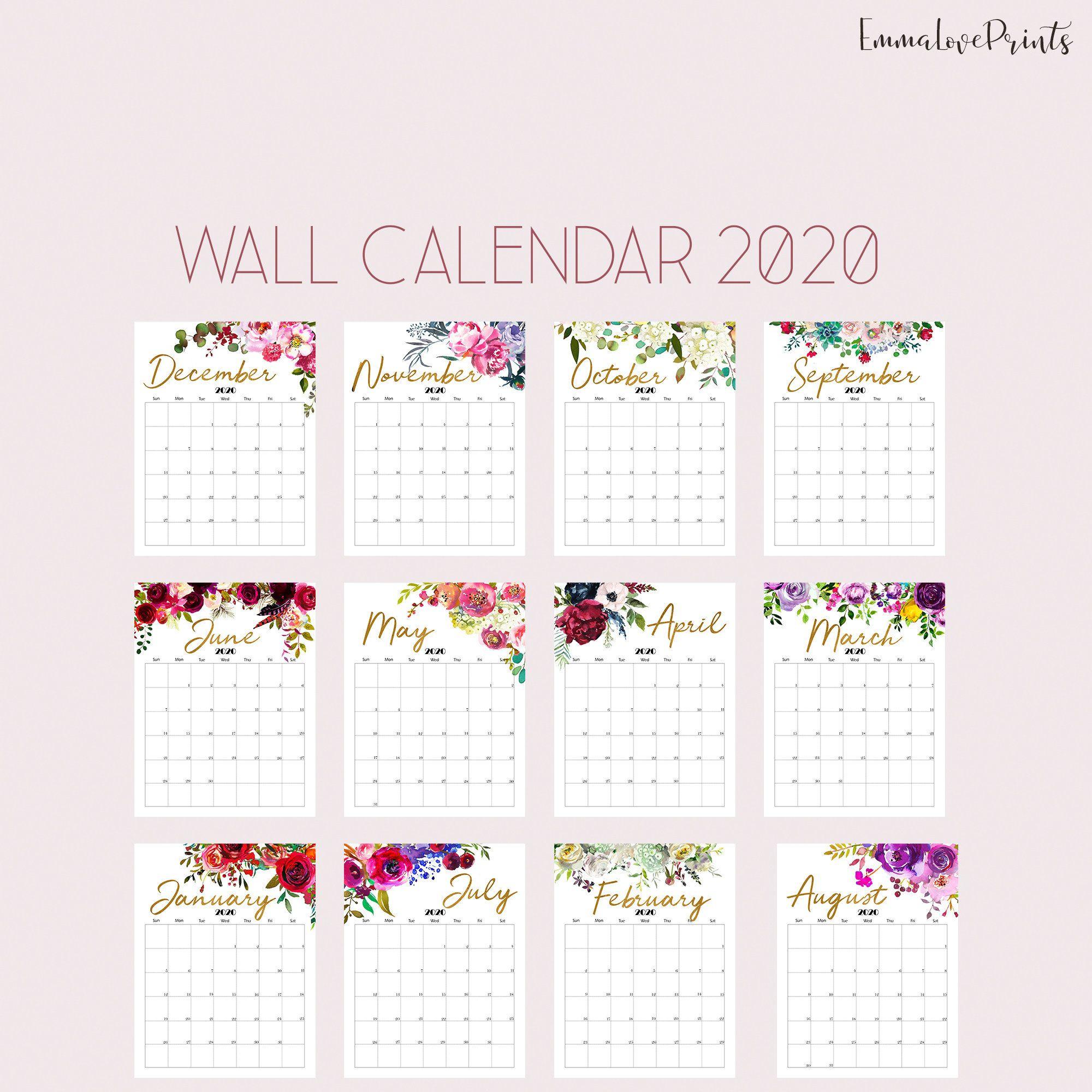 Printable Calendar 2020 Wall Calendar 2020 Desk Calendar