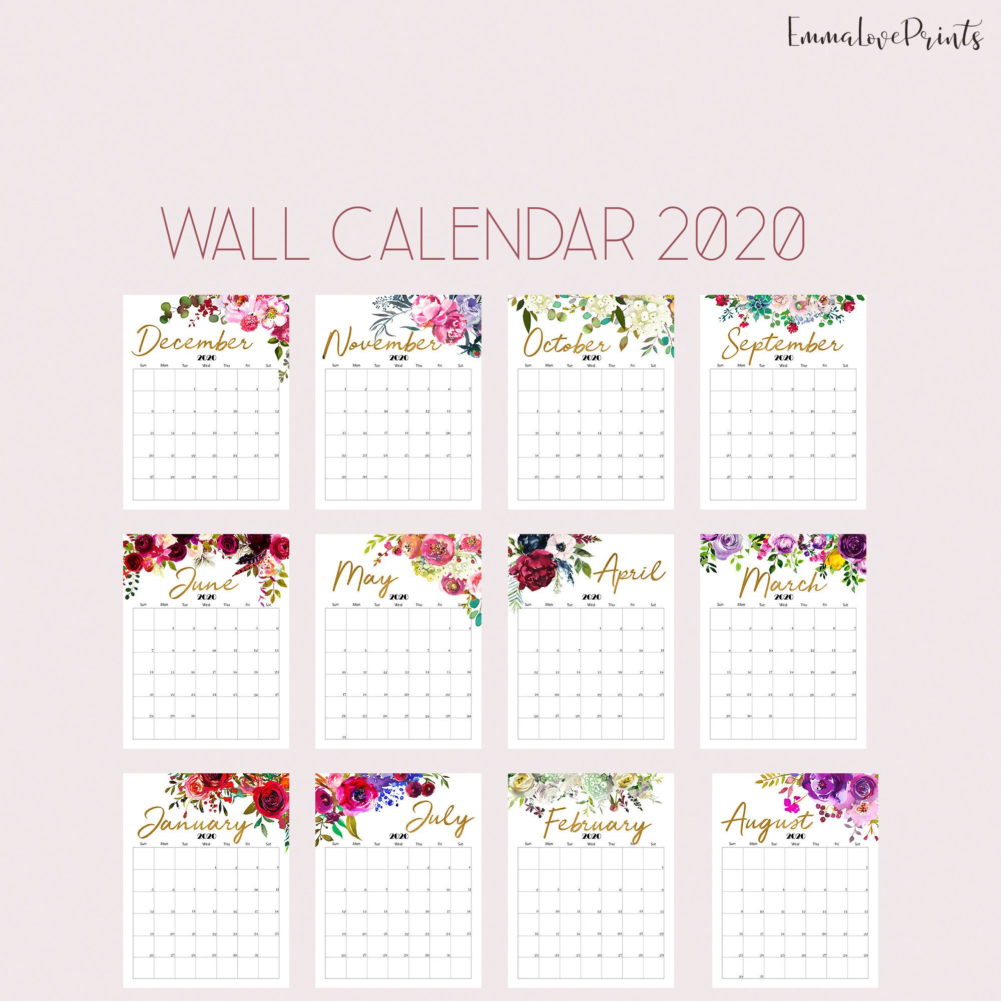 8 X 10 Prinable Blank Monthly Calendar