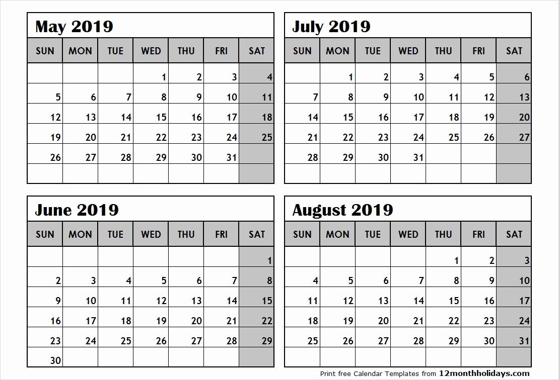 Printable Calendar 3 Months Per Page 2019 | Calendar Design