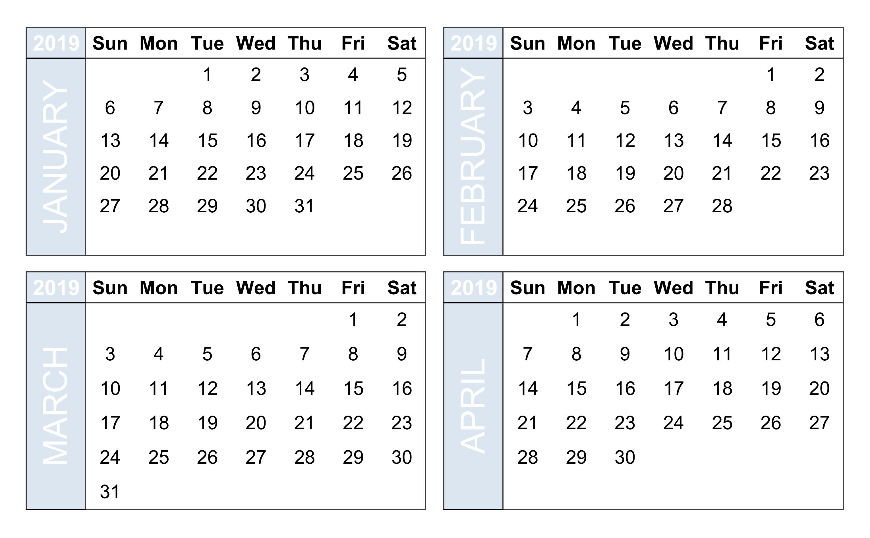 Printable Calendar 4 Months On One Page • Printable Blank