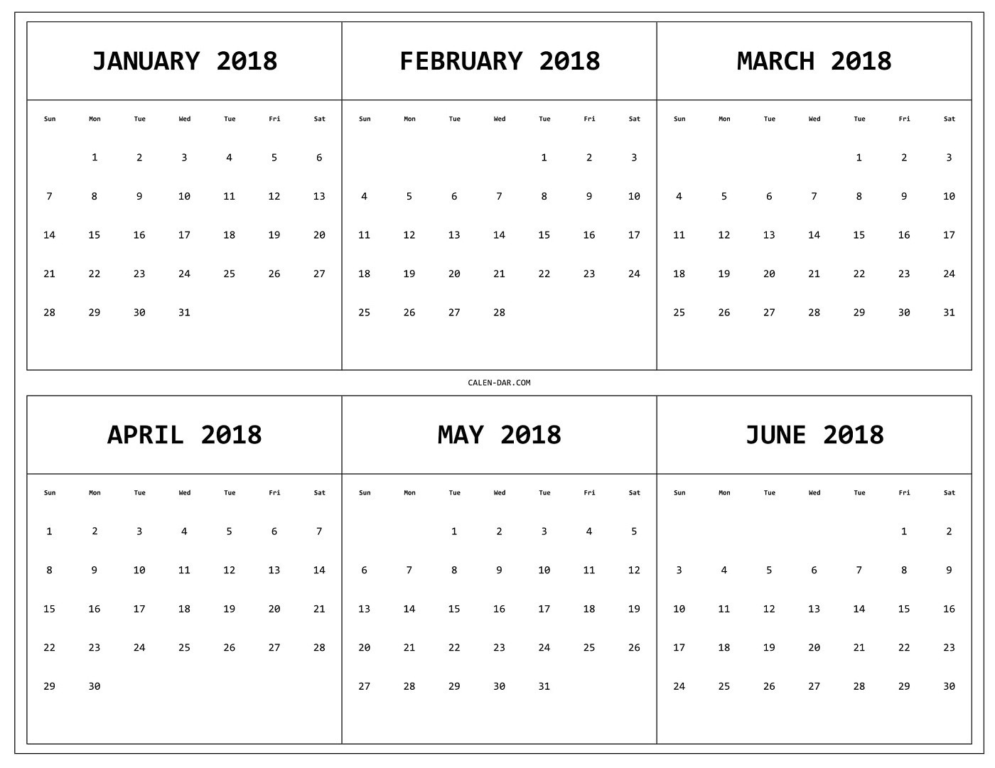 Printable Calendar 6 Months Per Page 2019 • Printable Blank
