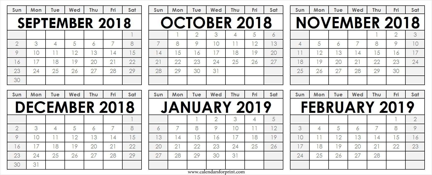Printable Calendar Aug To Dec 2018 | Calendar Format Example