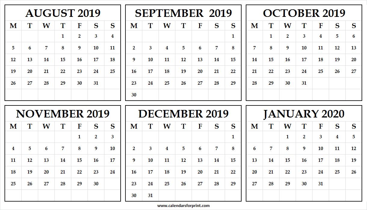 Printable Calendar August 2019 January 2020   Pinterst