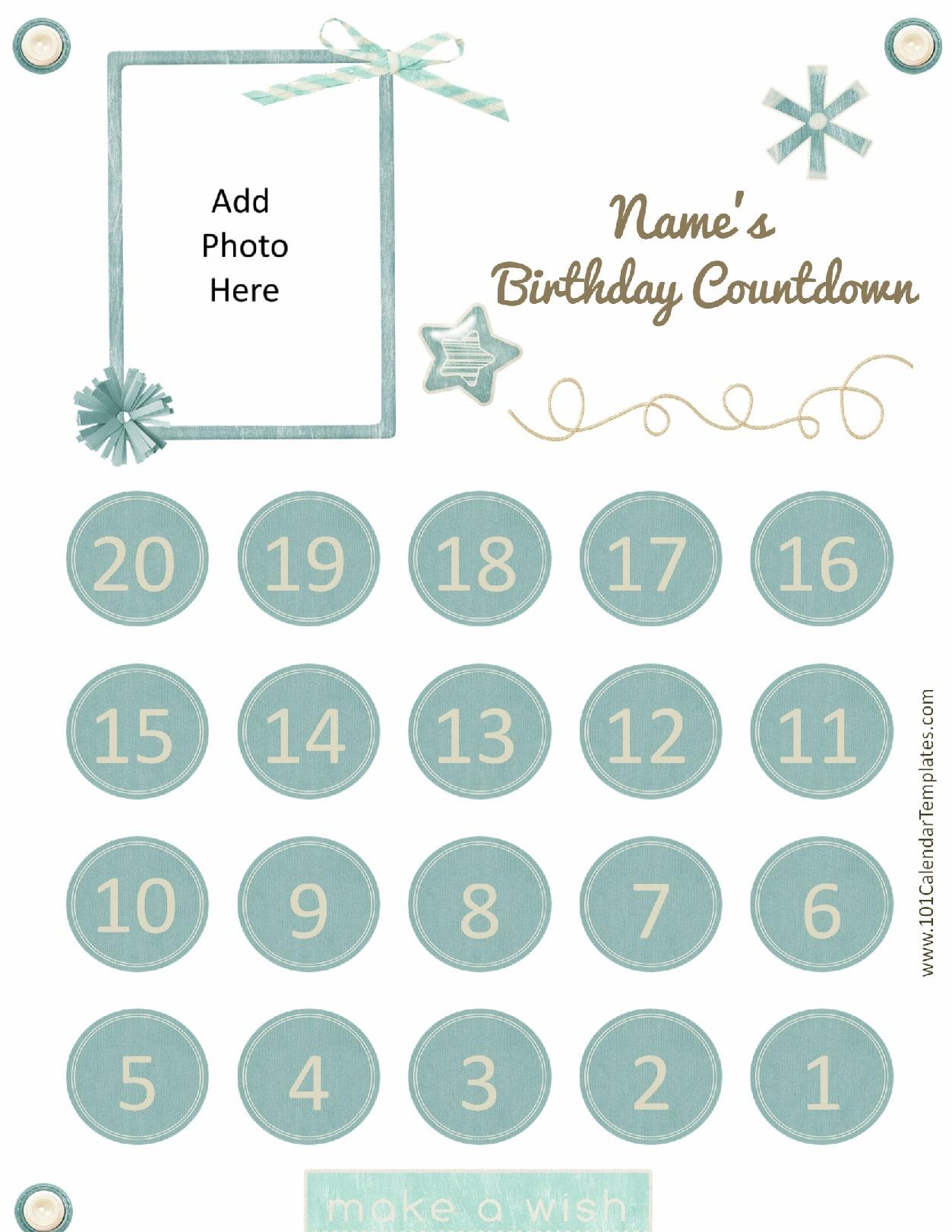 Printable Calendar Countdown | Printable Calendar 2019