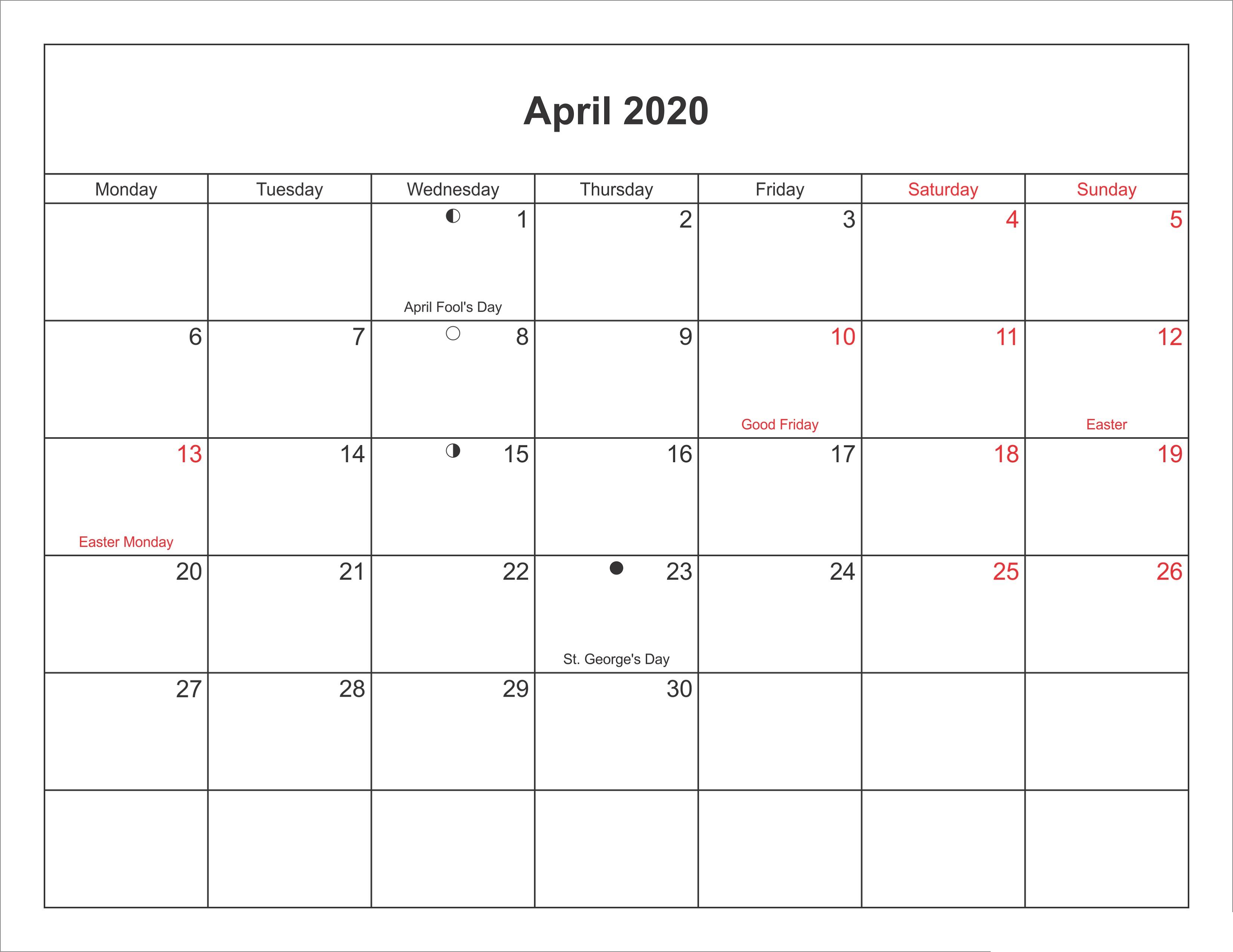 Printable Calendar For 2020 Blank Agenda | Calendar Shelter