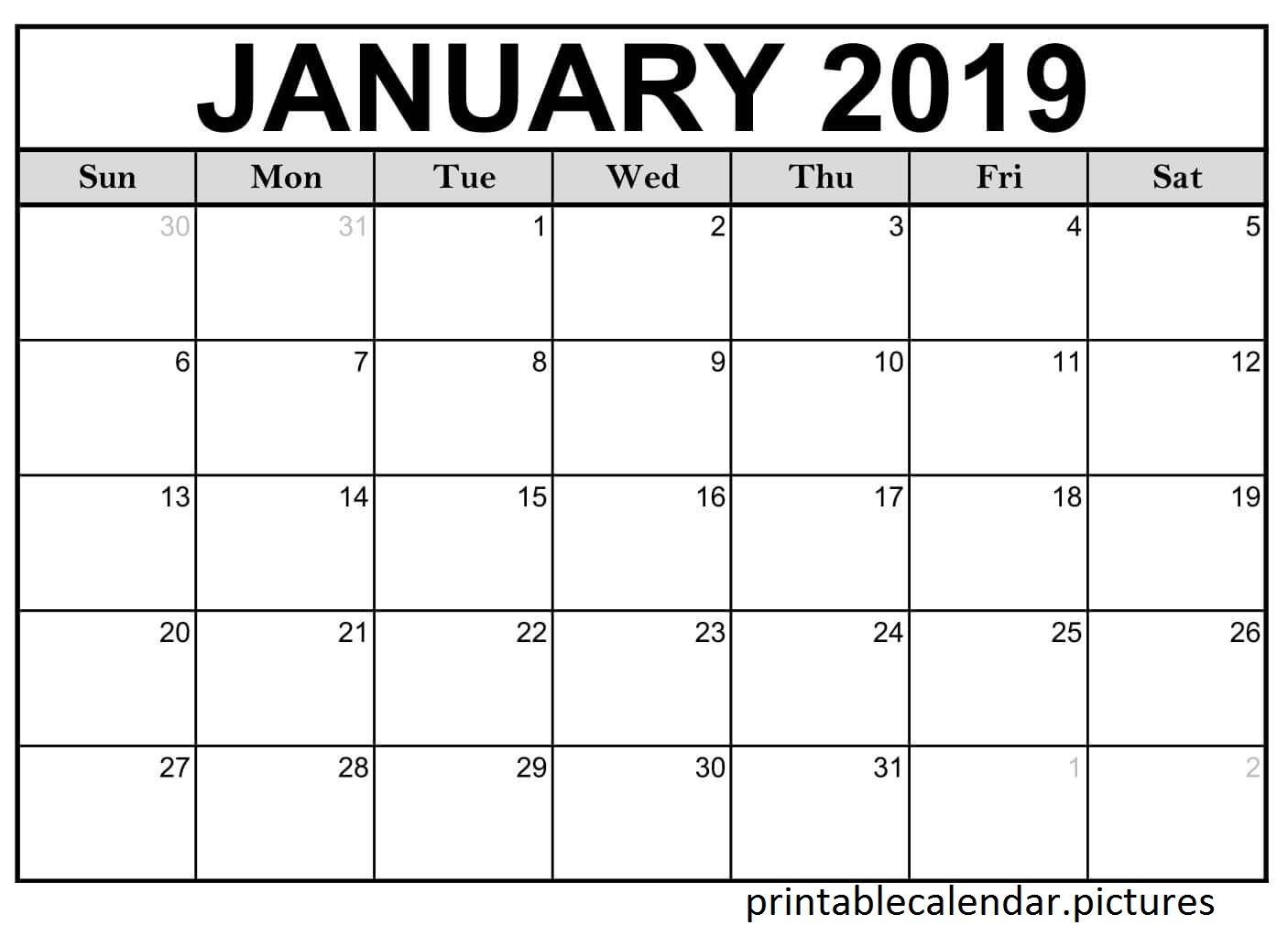 Printable Calendar January 2019 Monthly | Printable Calendar