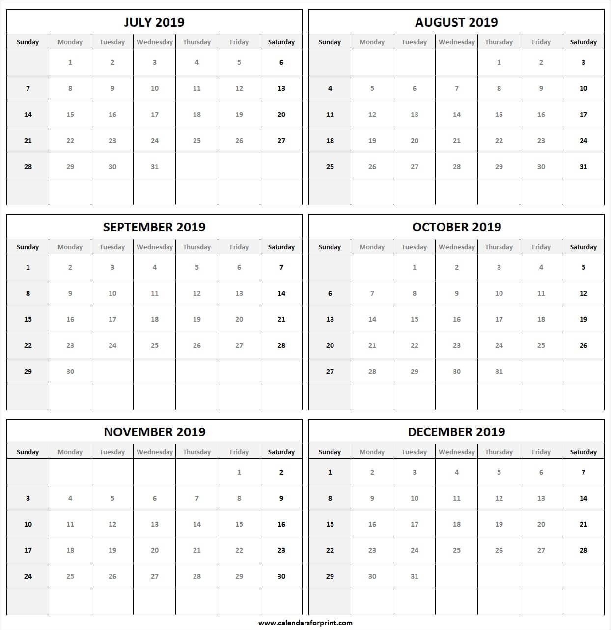 Printable Calendar July December 2019 | Free 2019