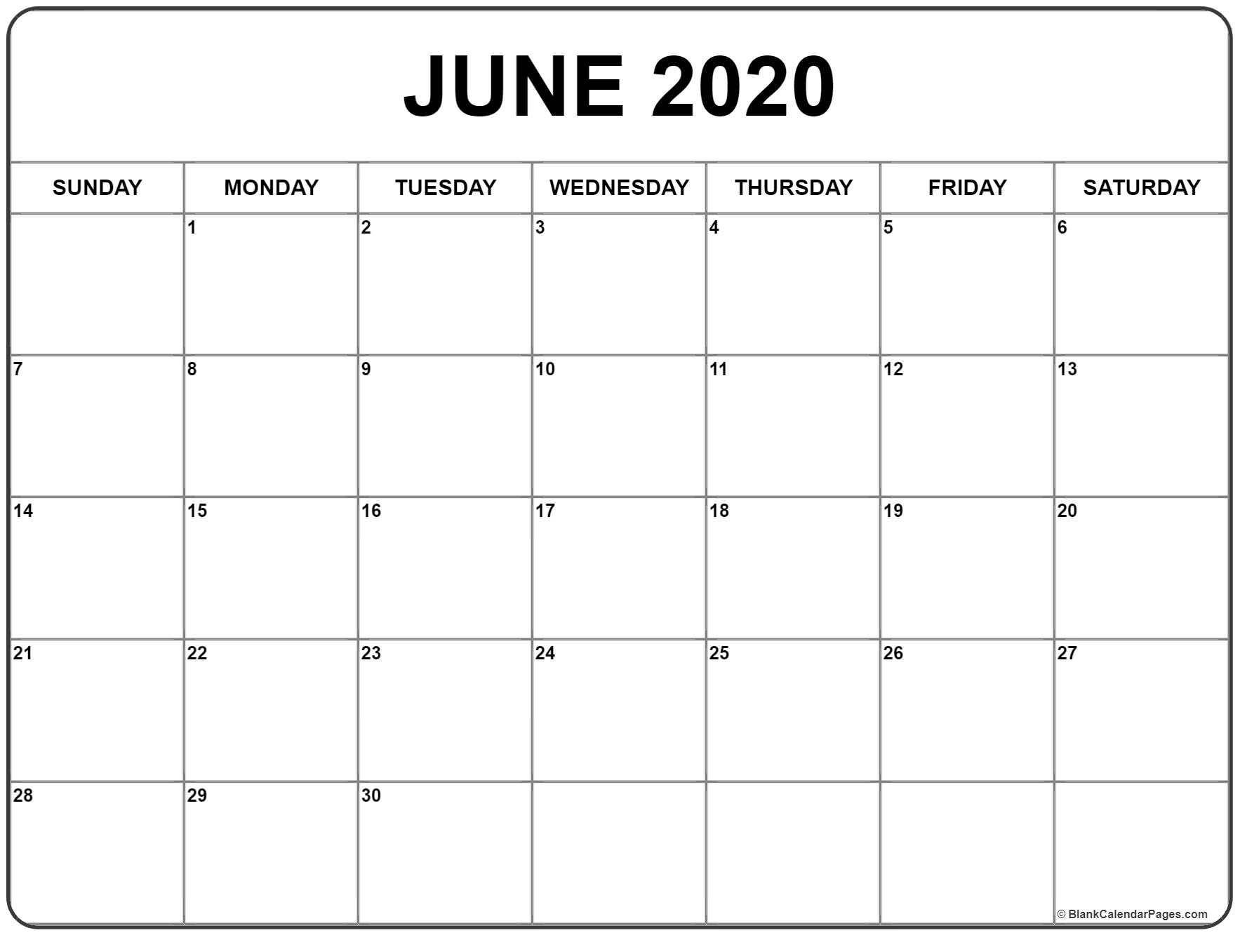 Printable Calendar June 2019 To June 2020 - Calendar