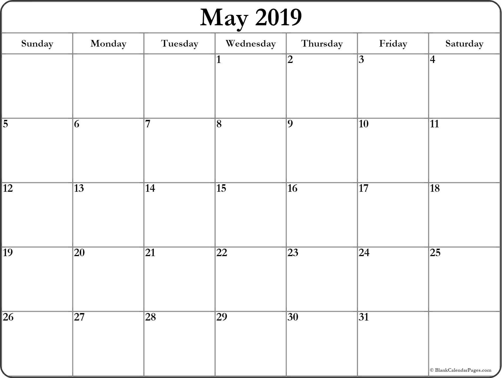 Printable Calendar May 2019 | 200+ May 2019 Calendar