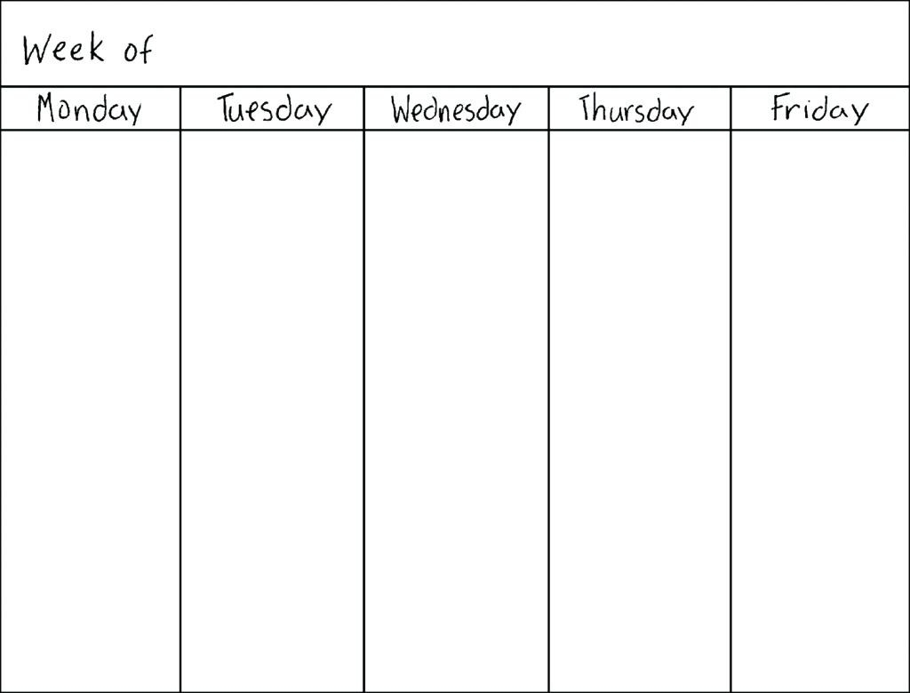 Printable Calendar Monday Through Friday | Printable