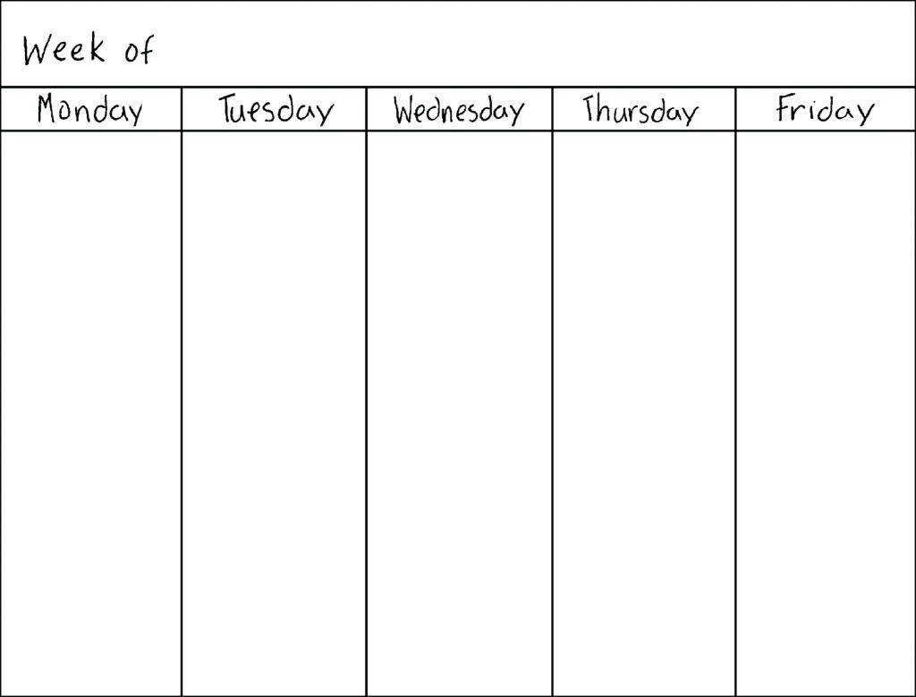 Printable Calendar Monday Through Friday | Printable