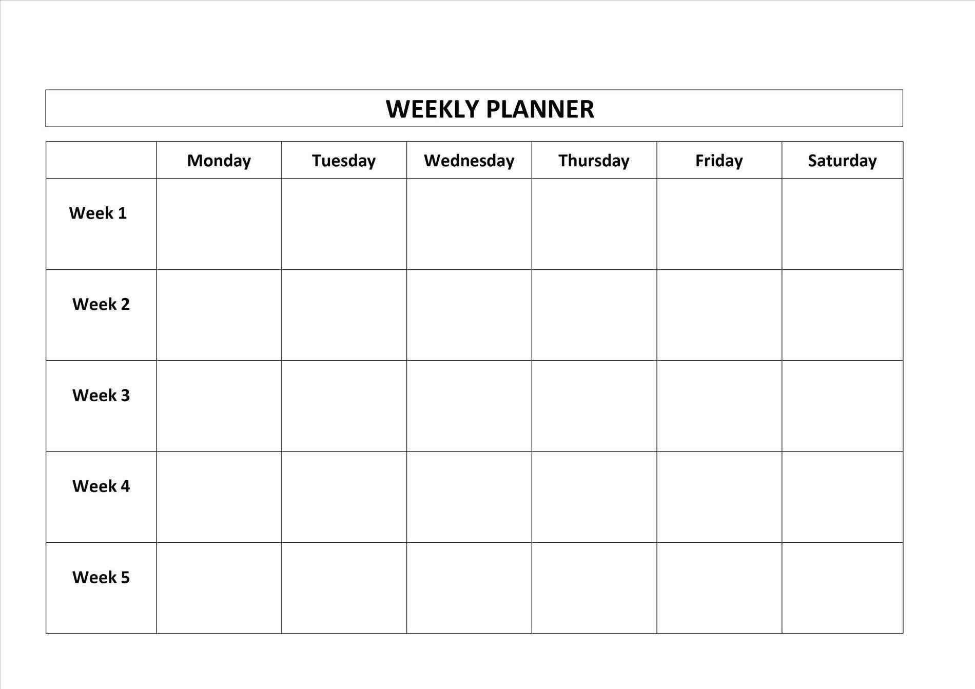Printable Calendar Monday Through Friday   Printable