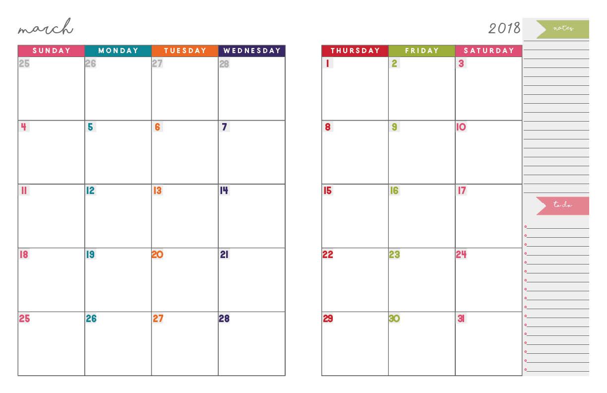 Printable Calendar Notebook 2018 | Printable Calendar 2019