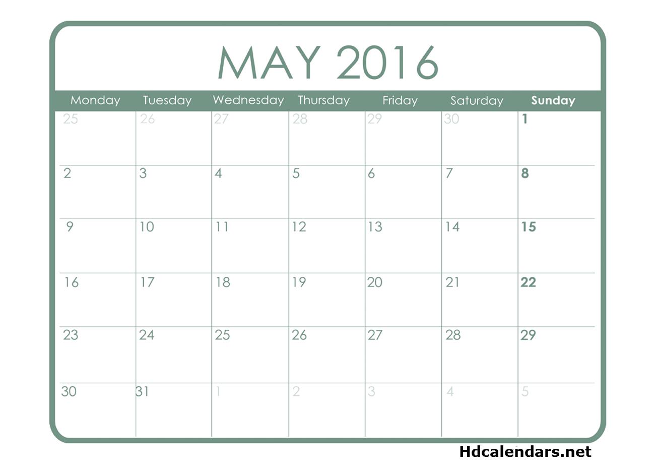 Printable Calendar Starting Mondays | Calendar Template 2019