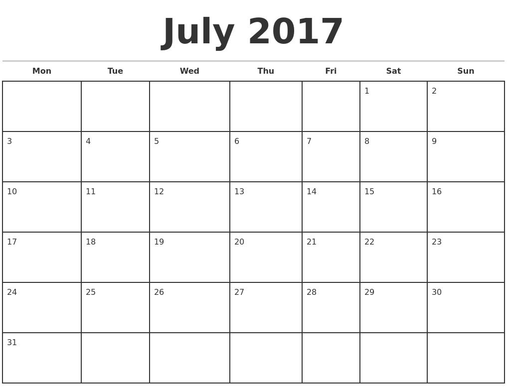 Printable Calendar Starting With Monday | Calendar Design Ideas