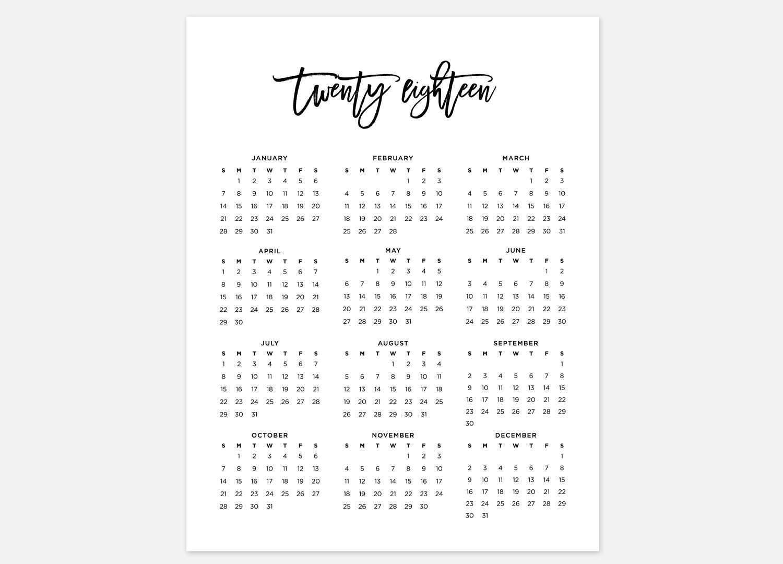 Printable Calendar Year At A Glance 2018 | Printable