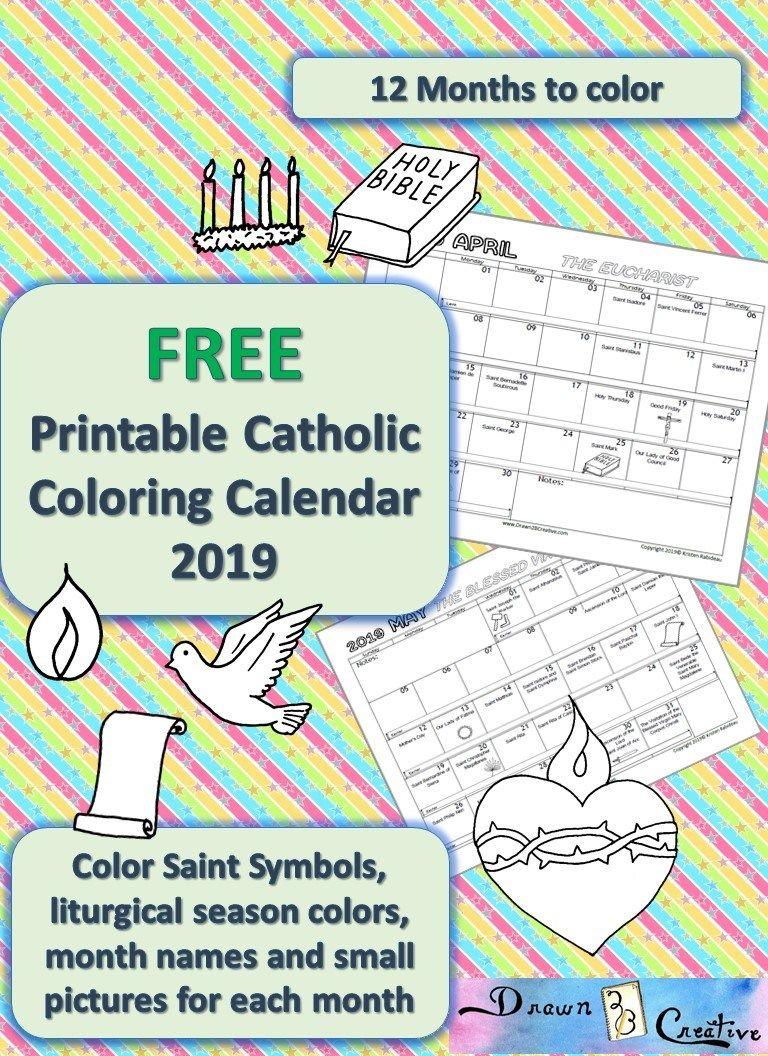 Printable Catholic Coloring Calendar 2019   Catholic