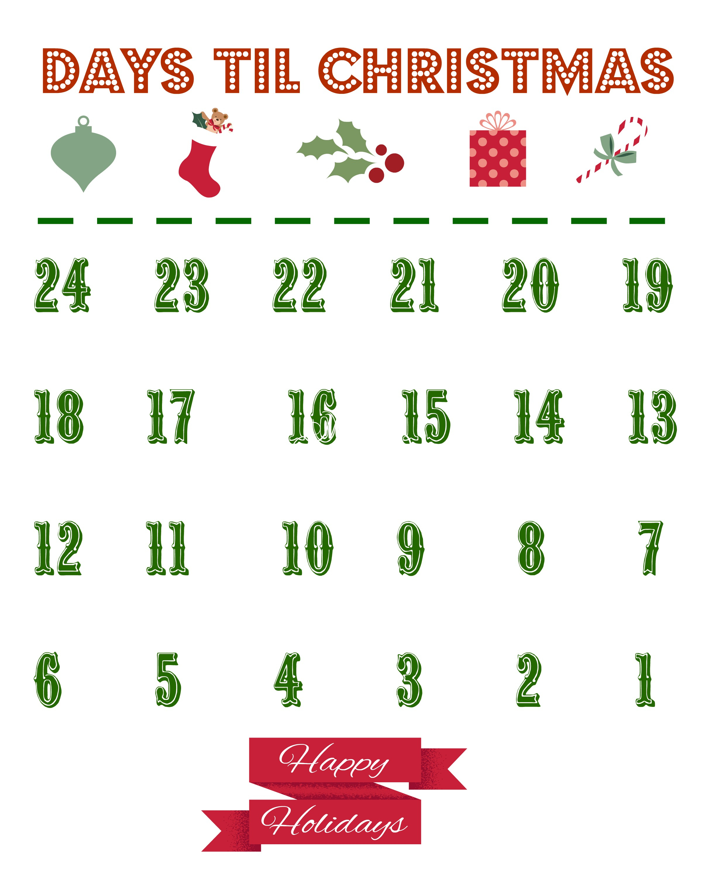 Printable Christmas Countdown Calendar - The Country Chic