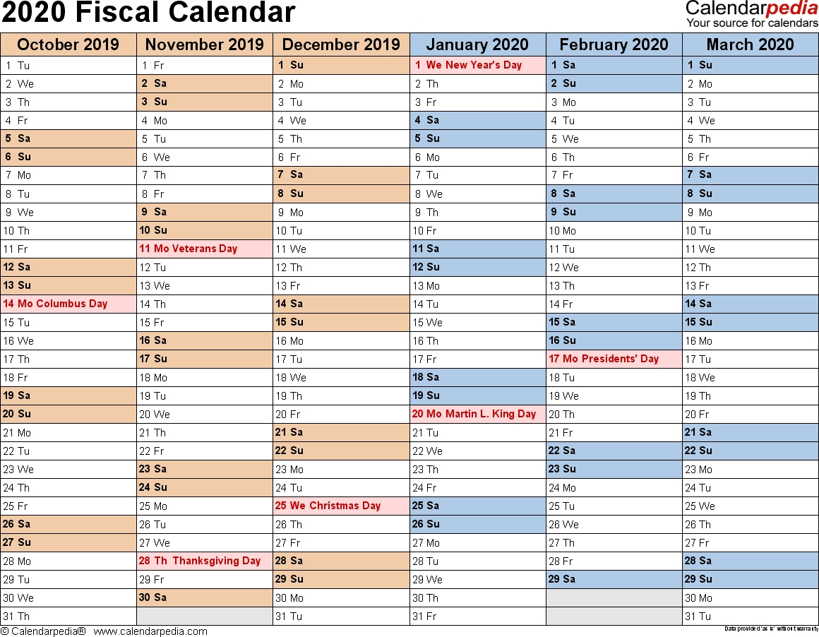 Printable Fiscal Calendar April 2020 - 2020 » Creative
