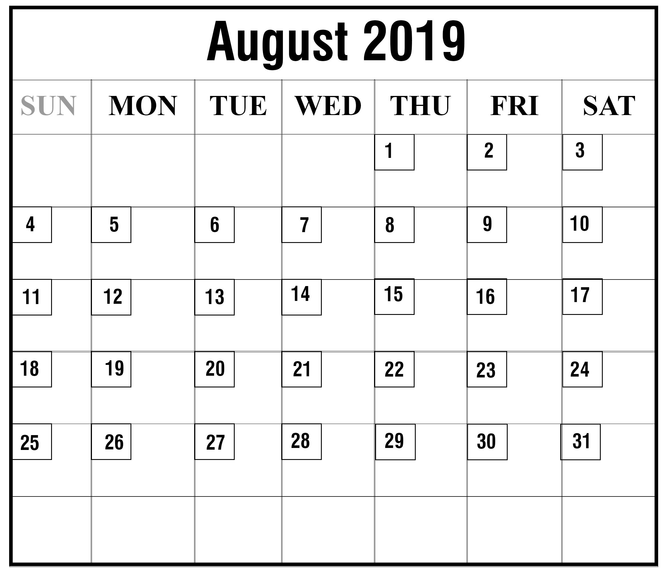 Printable Free August 2019 Blank Calendar Templates [Pdf