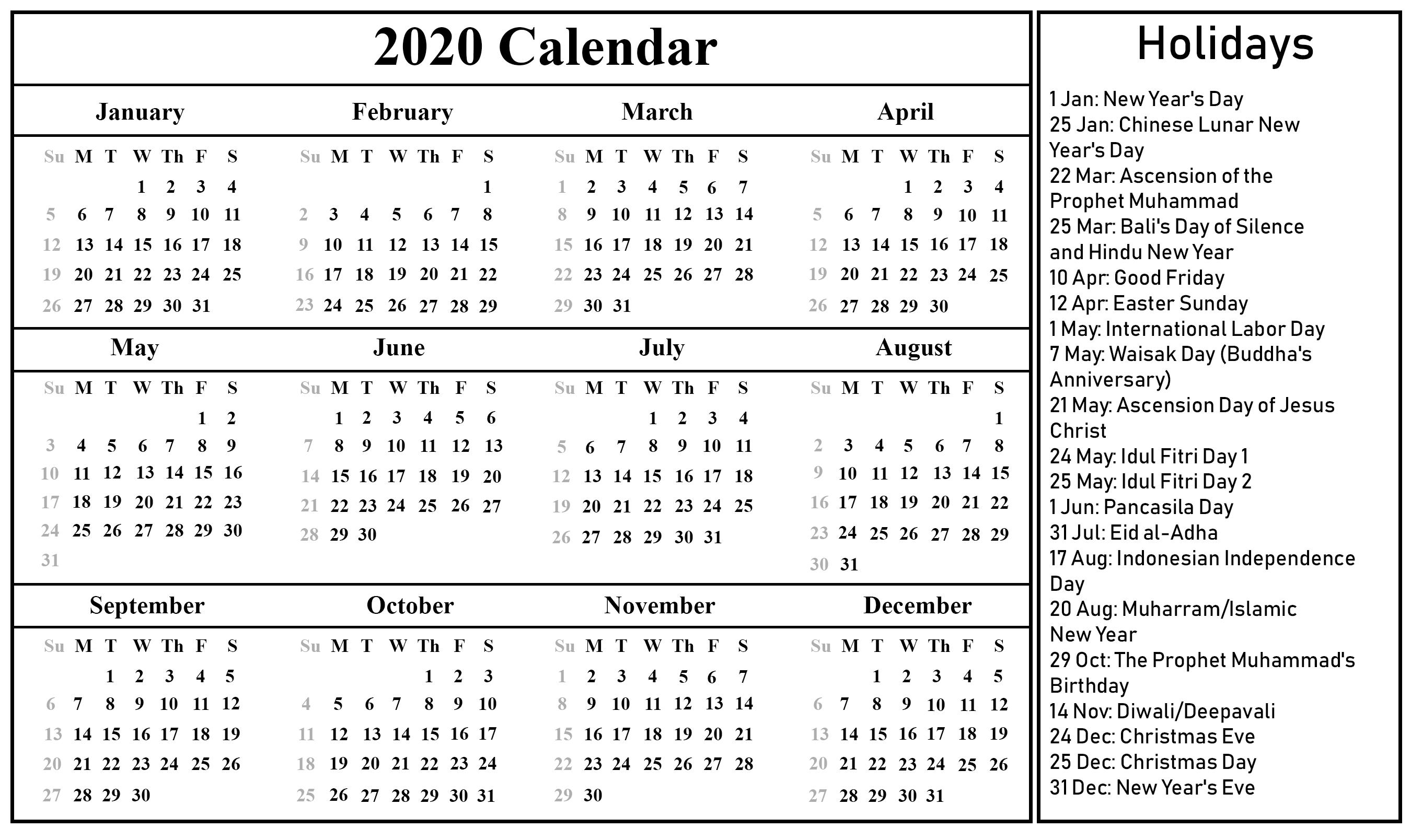 Printable Free Blank Indonesia Calendar 2020 [Pdf, Excel
