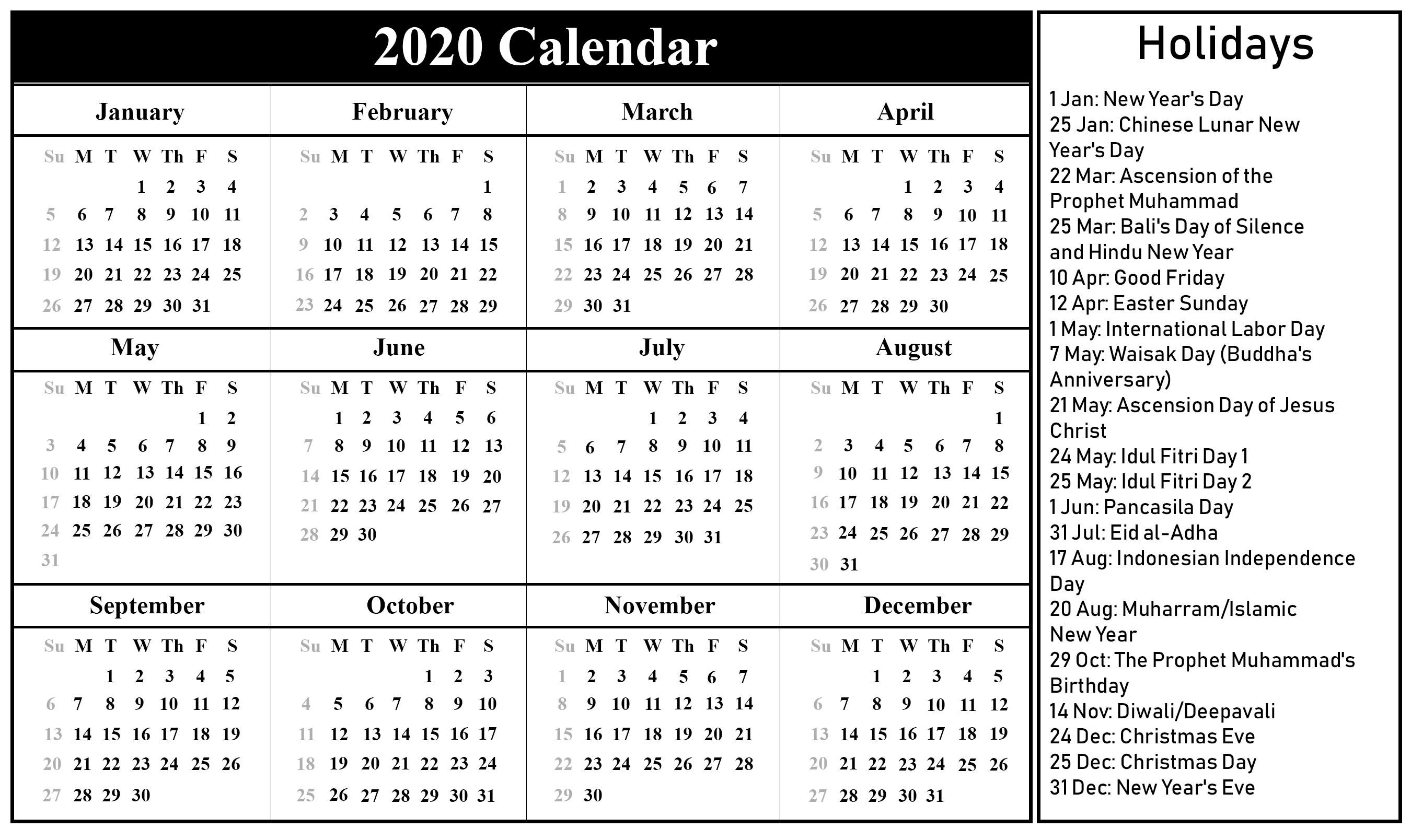 Printable Free Download Indonesia Calendar 2020 [Pdf, Excel