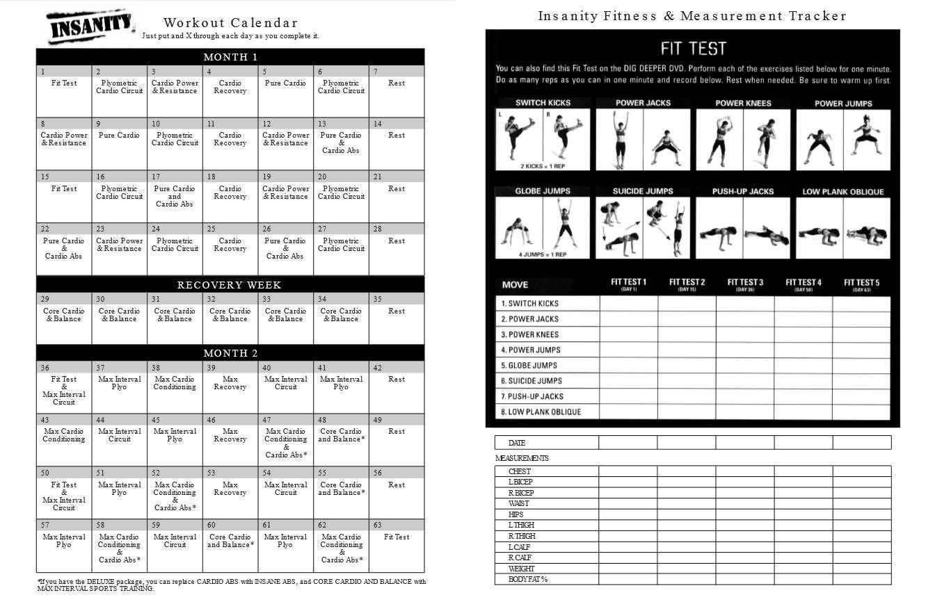 Printable Insanity Workout Calendar Pdf Free | Fitness