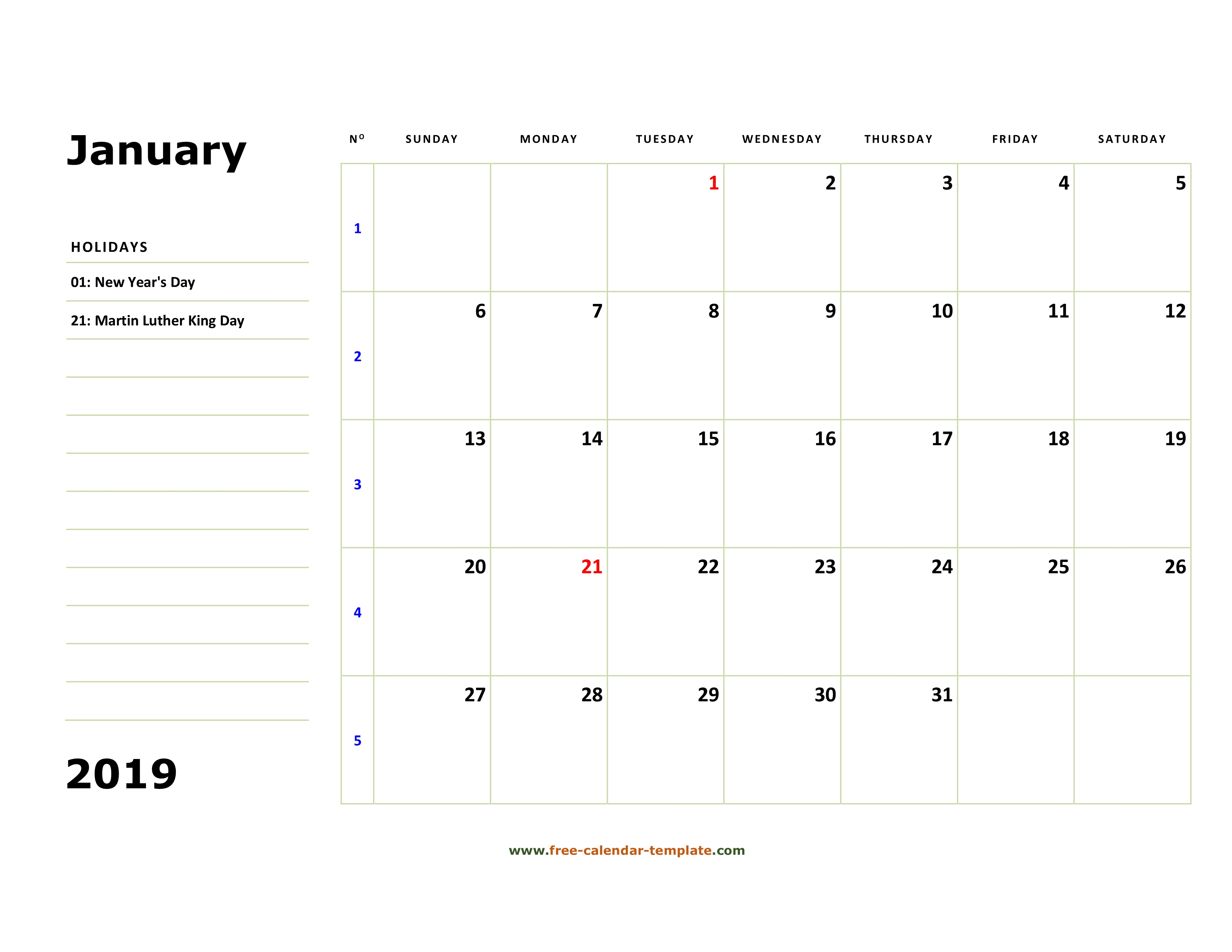 Printable January 2019 Calendar (Box And Lines For Notes