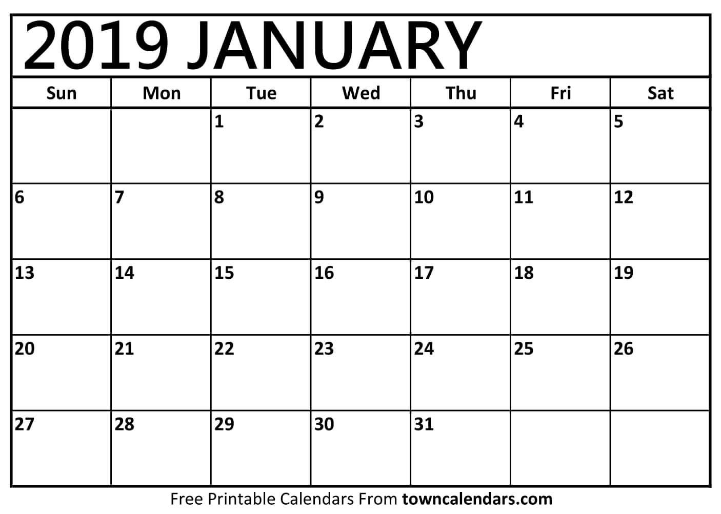 Printable January 2019 Calendar - Towncalendars