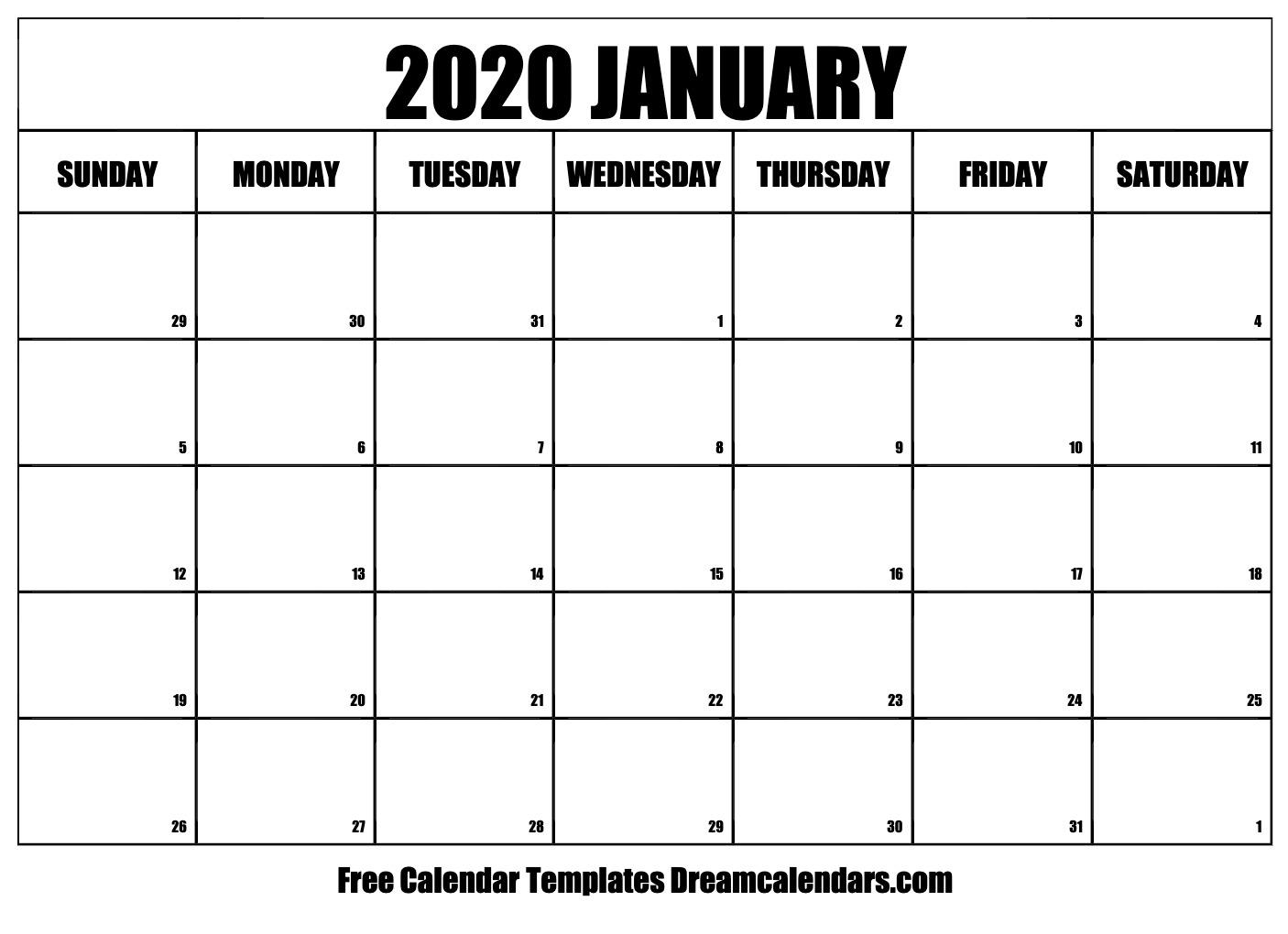 Printable January 2020 Calendar