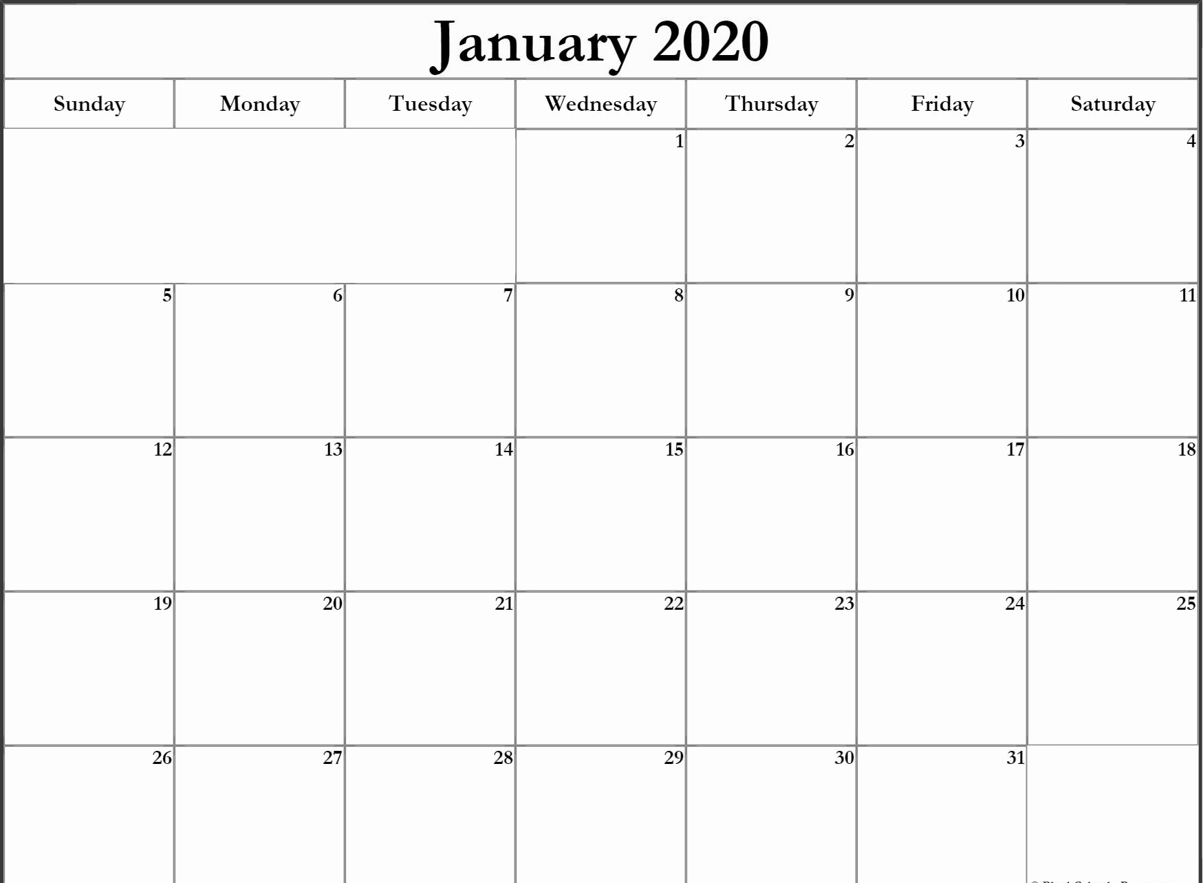 Printable January 2020 Calendar Cute