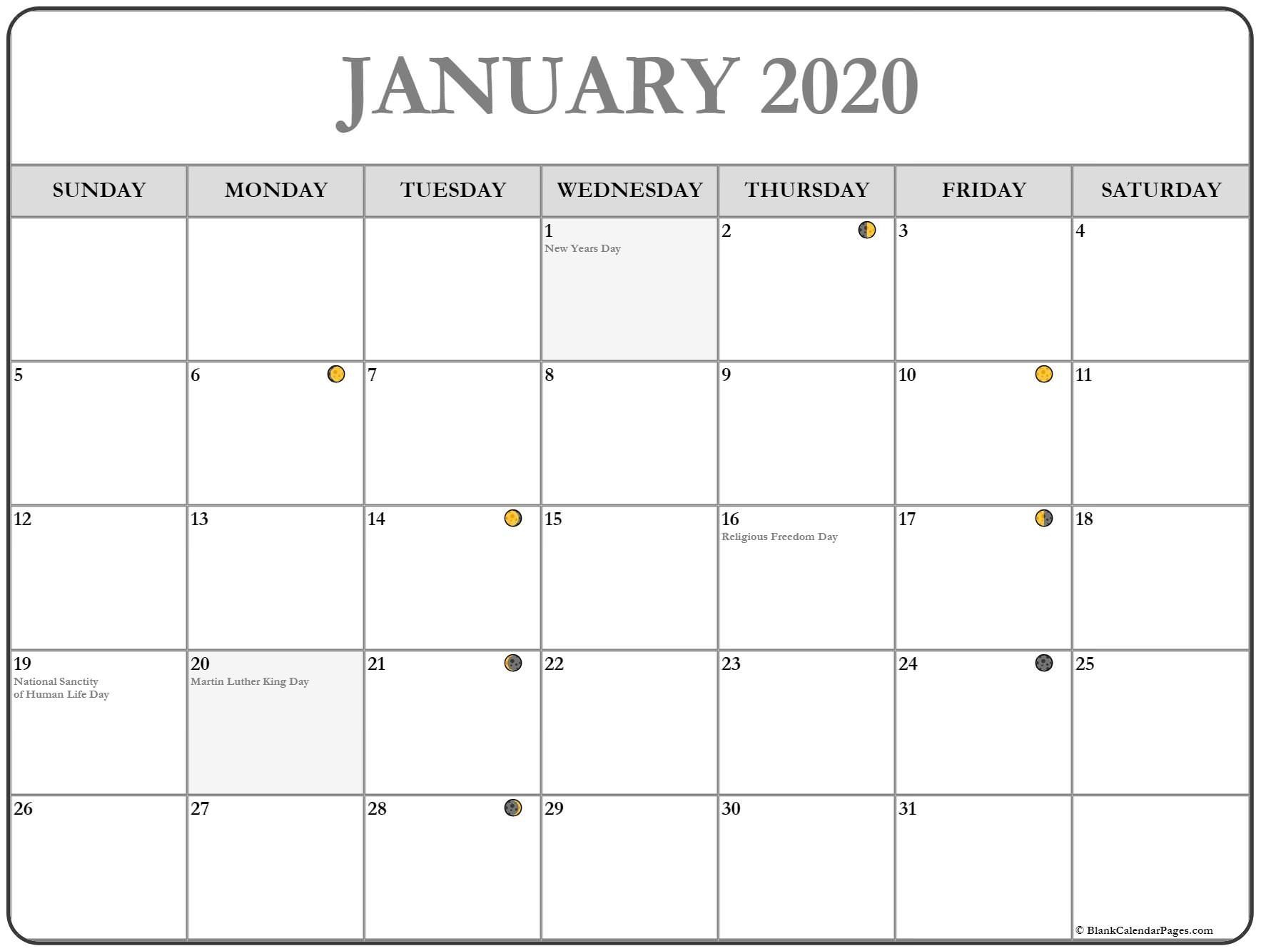 Printable January 2020 Moon Calendar #january #january2020