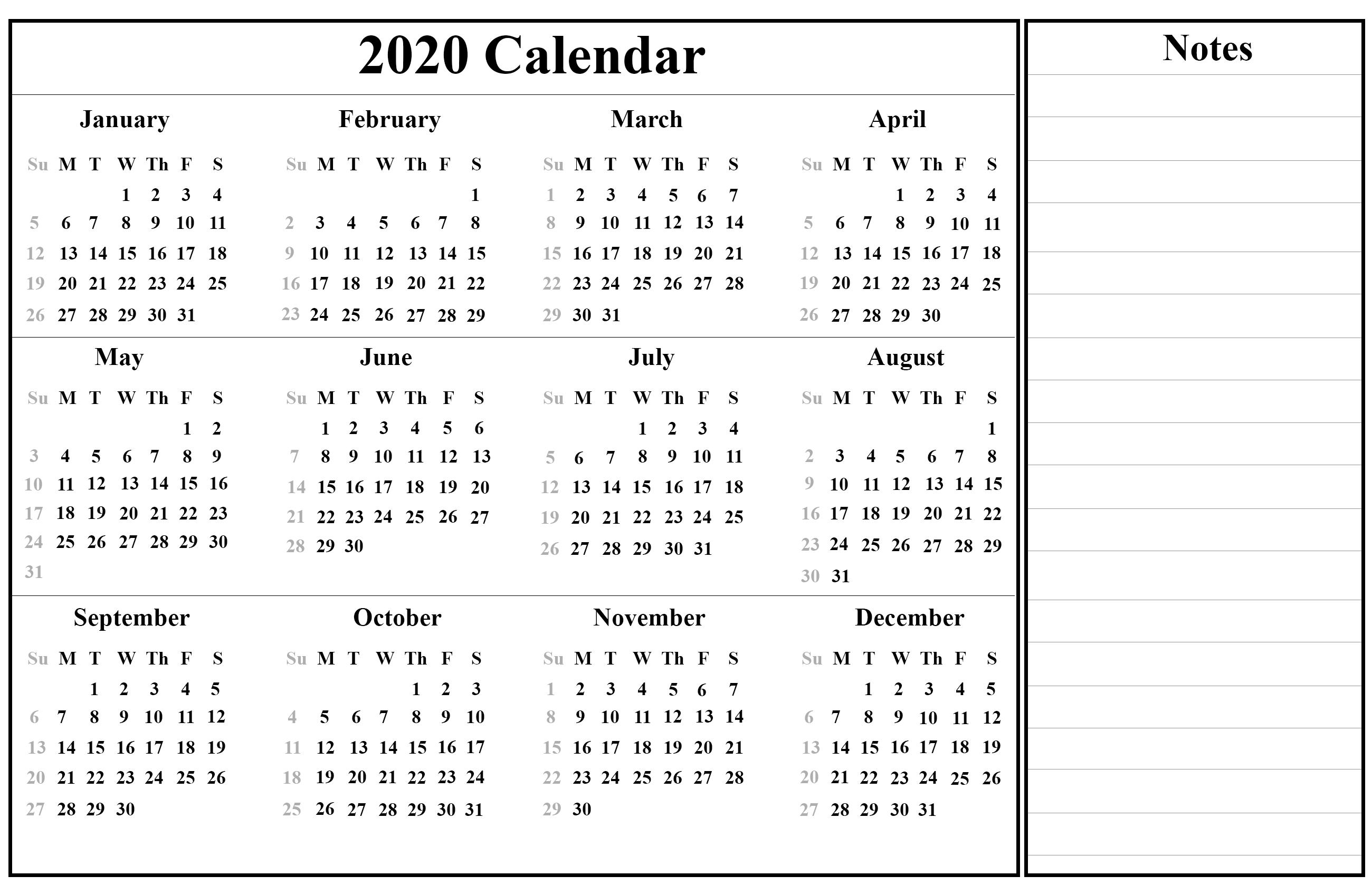 Printable January Calendar Template
