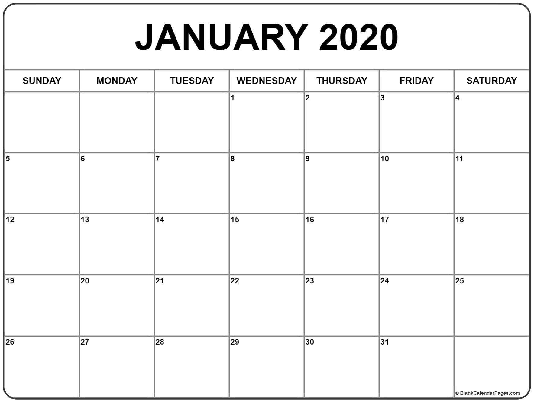 Printable January Calendars 2020 | Isacl