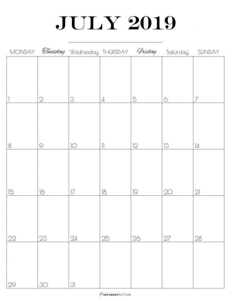 Printable July 2019 Calendar {Free & Pretty Printables}