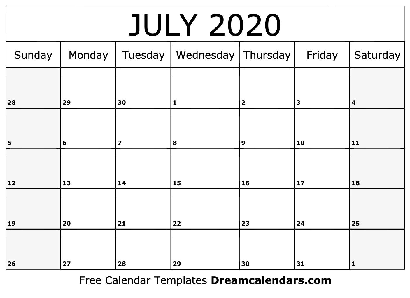 Printable July 2020 Calendar