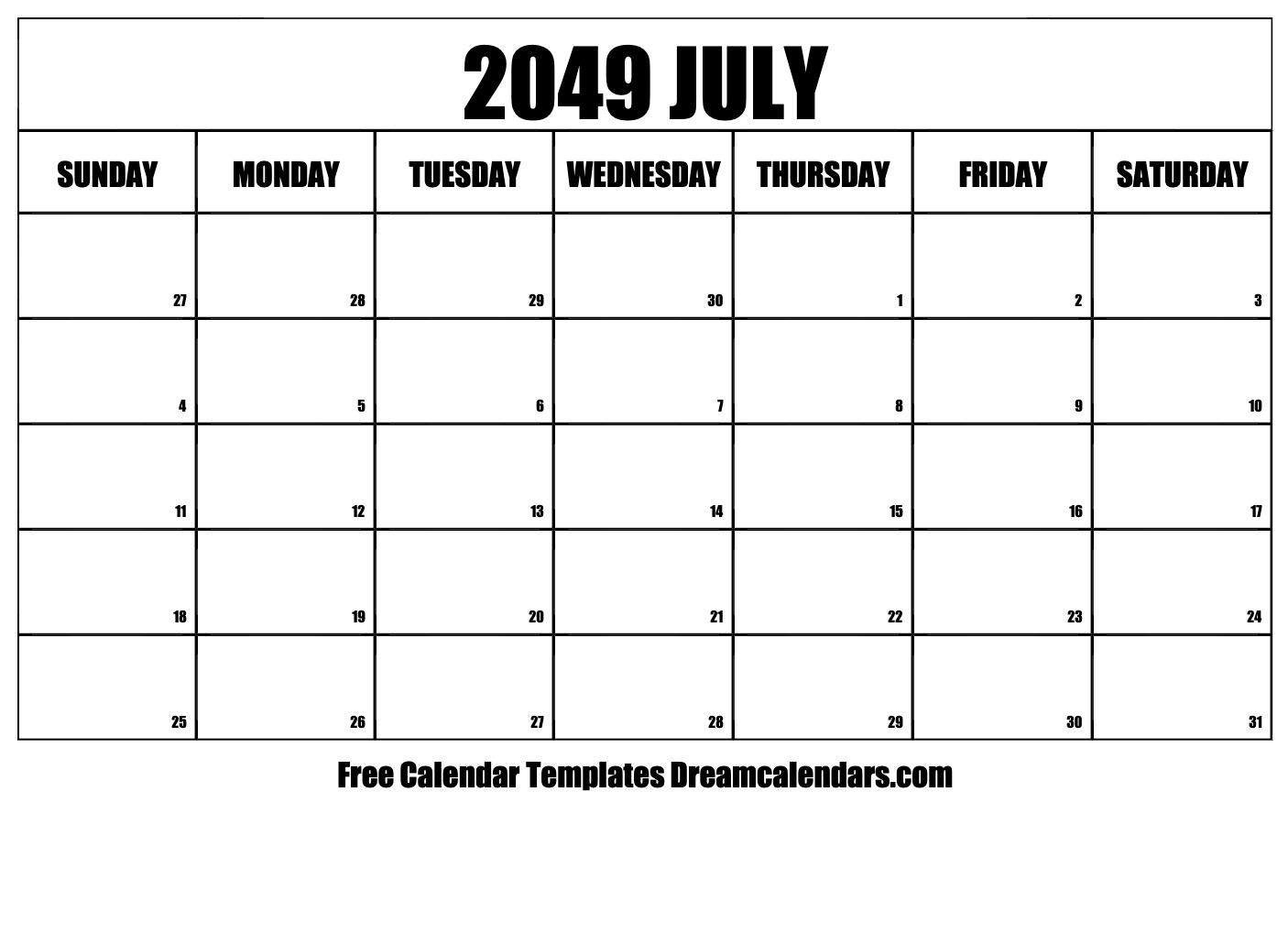 Printable July 2049 Calendar