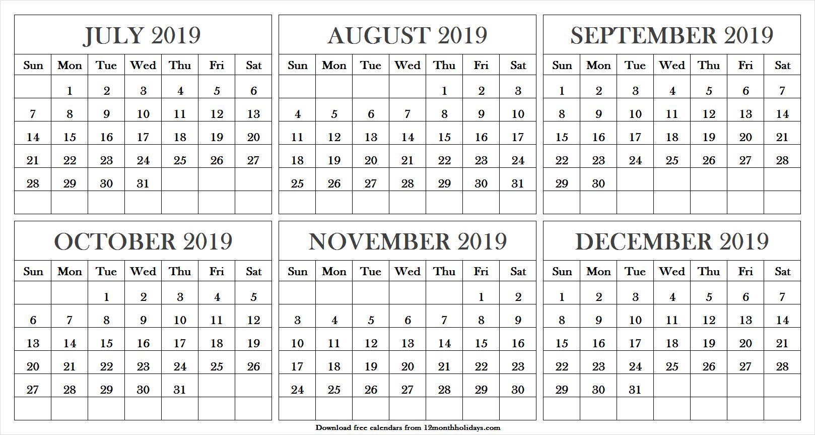 Printable July December 2019 Calendar | Calendar July 2019 Word