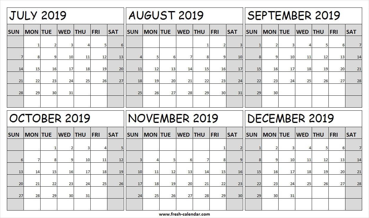 Printable July December 2019 Calendar Free   Fillable 2019