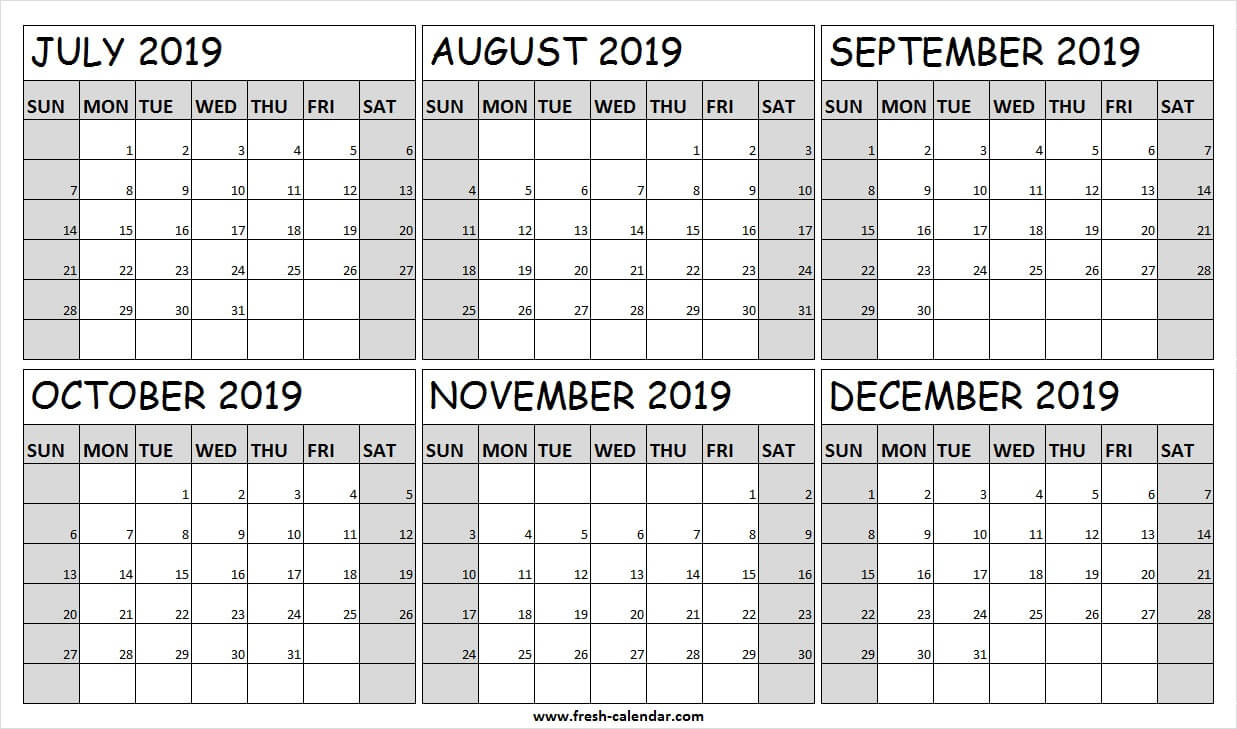 Printable July December 2019 Calendar Free | Fillable 2019