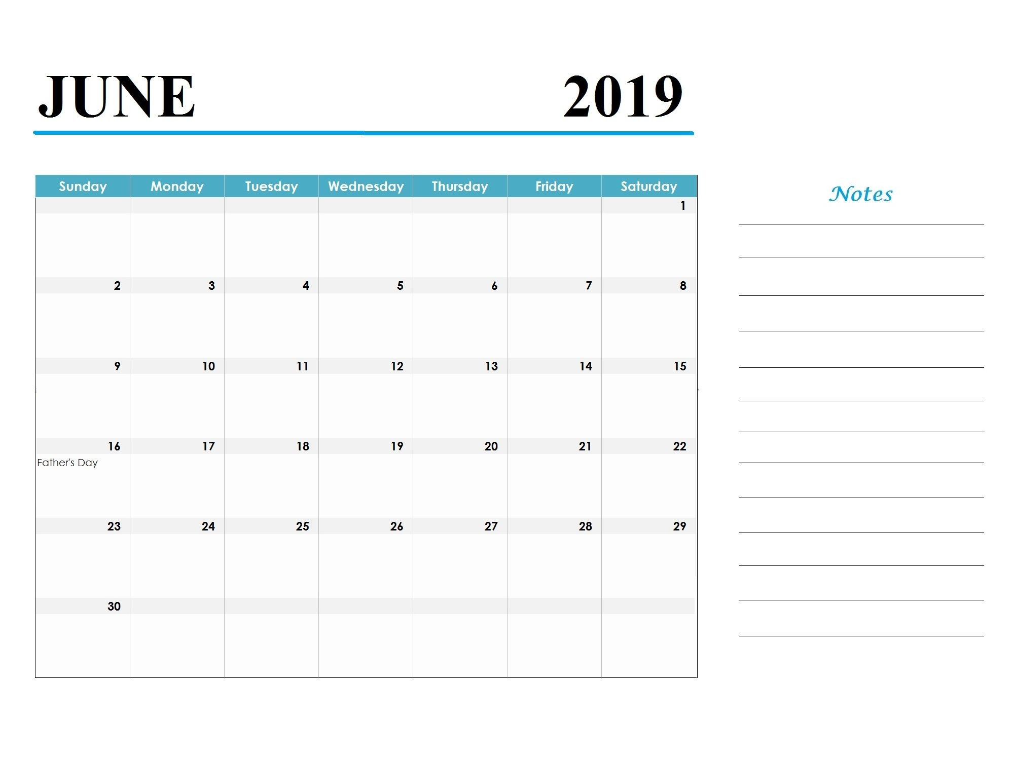 Printable June 2019 Calendar Template Word Document