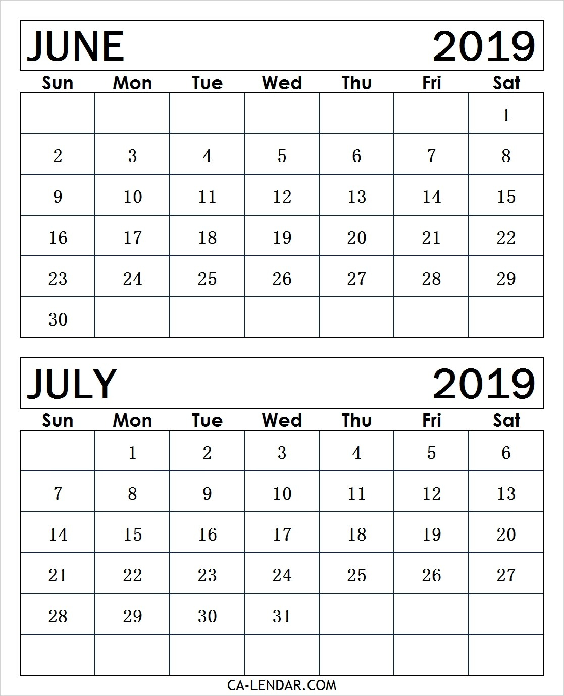 Printable June And July 2019 Calendar Monthly Templates